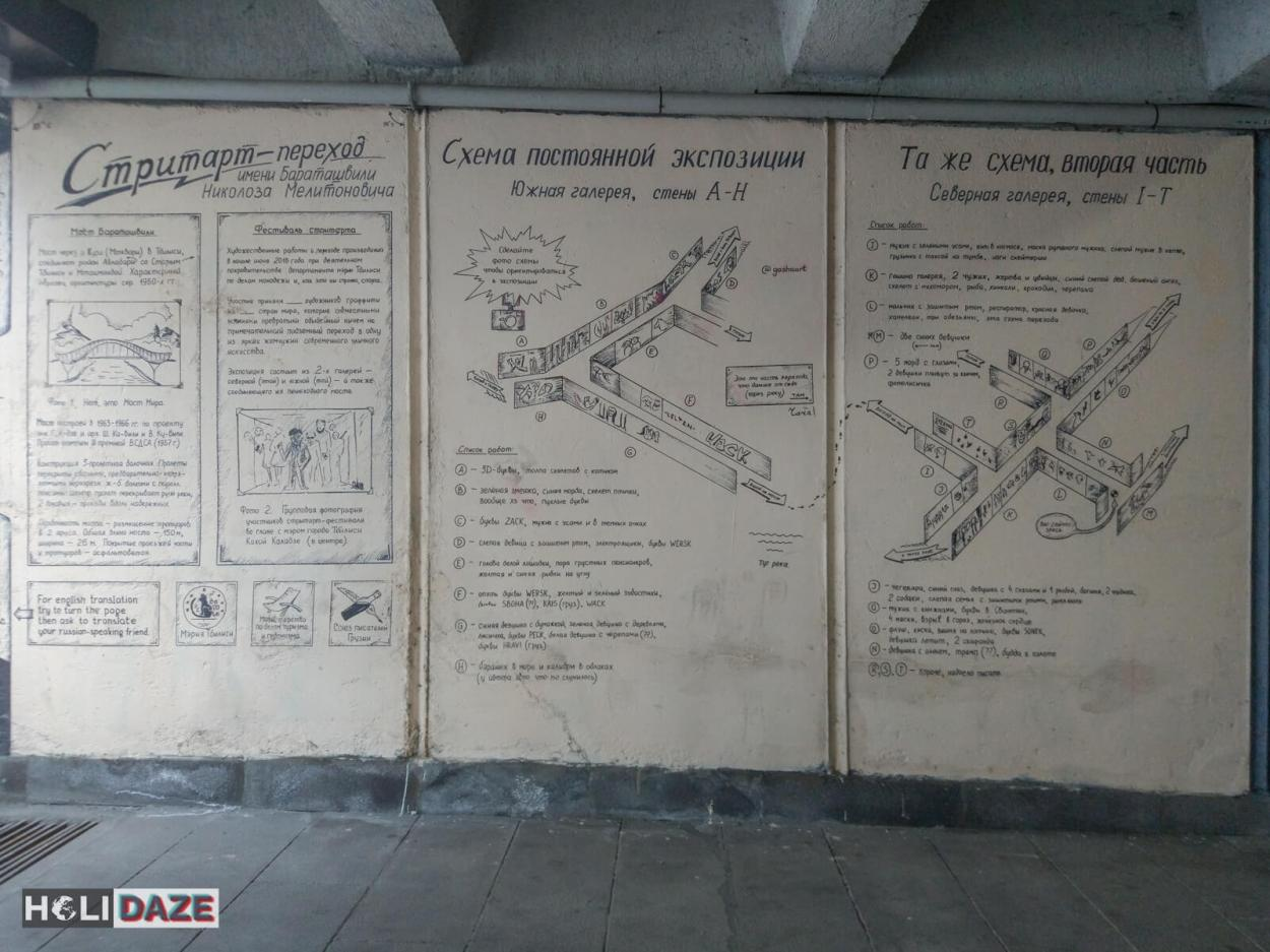 Map of Tbilisi street art at Nikoloz Baratashvili Bridge