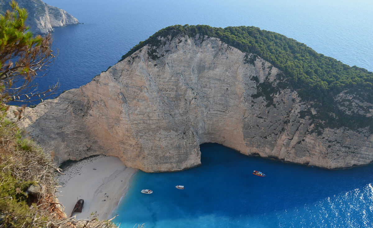 The iconic Navagio Beach (aka Shipwreck Cove) in Greece