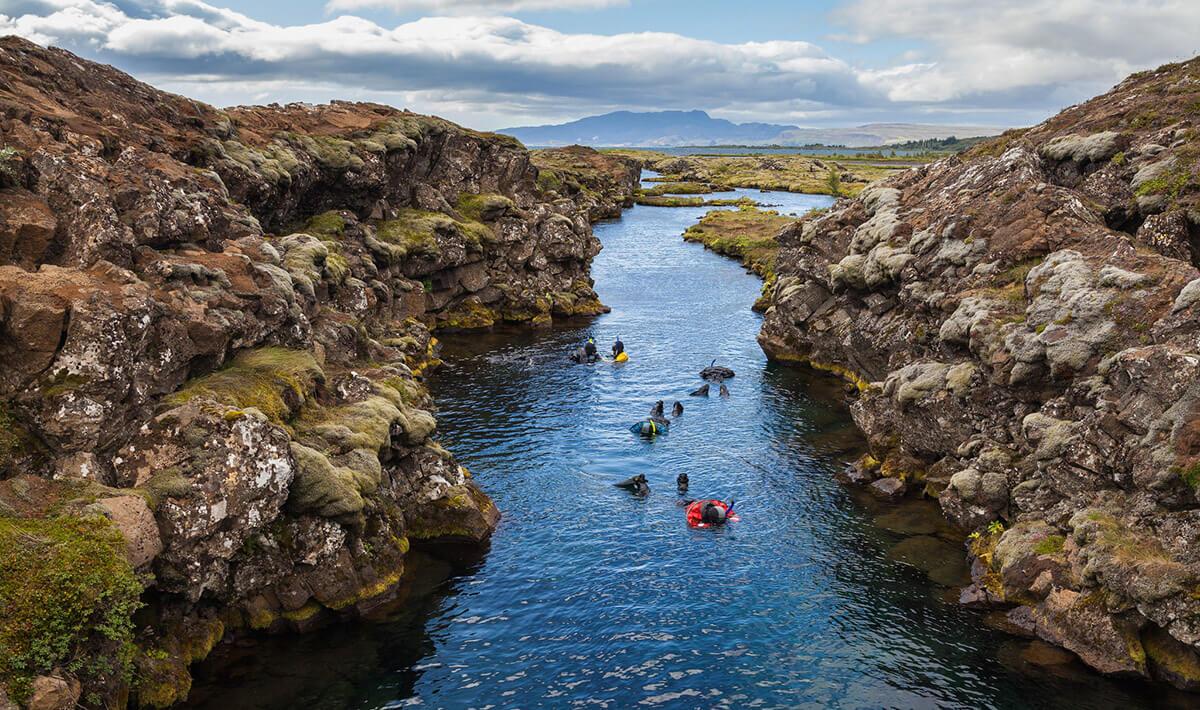 The Silfra Rift in Þingvellir Lake, part of the Þingvellir National Park in Iceland