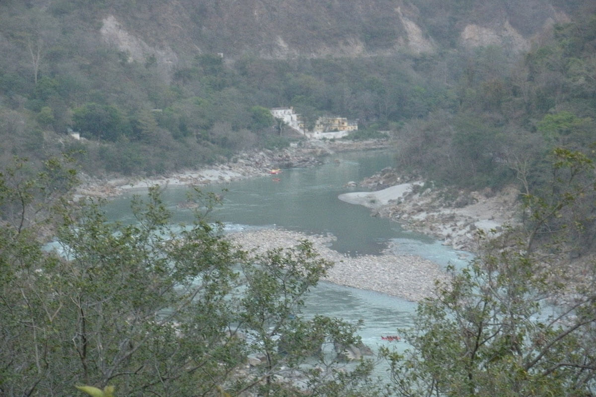 View of Ganges River banks and camps