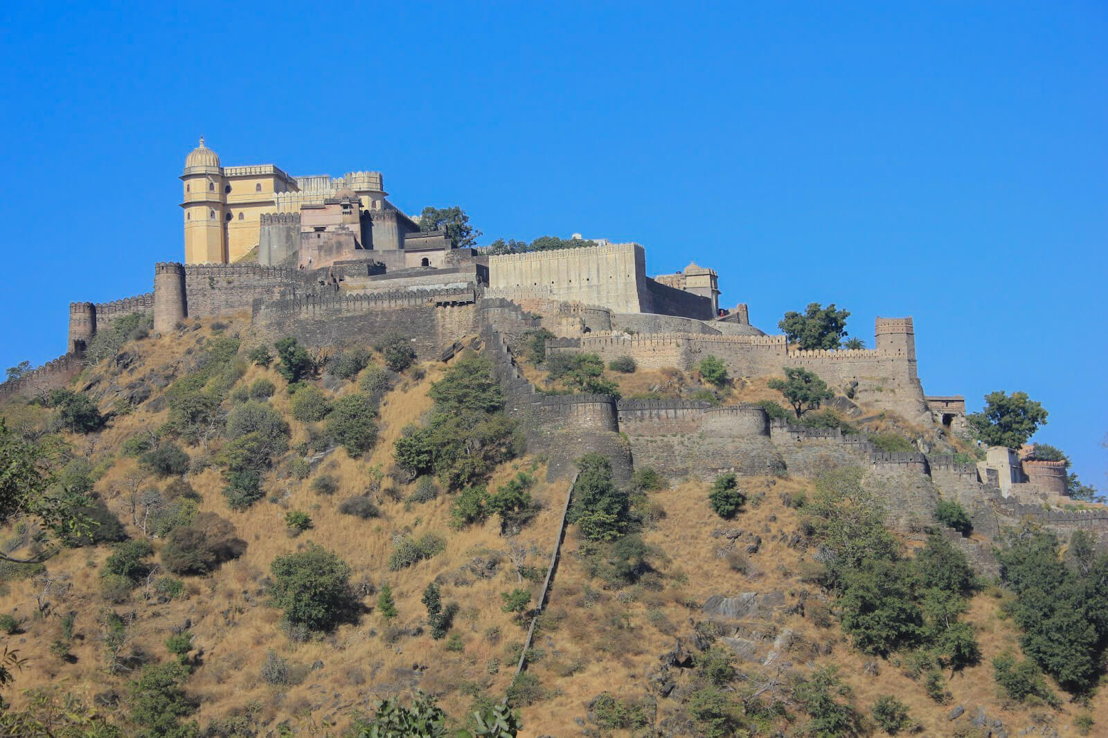 Badal Mahal, the palace inside built at the highest point inside the massive Kumbhalgarh Fort in Rajasthan, India