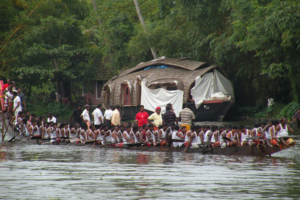 Happened upon a boat race in the backwaters of Kerala, India