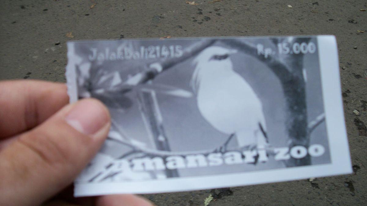My ticket to Kebun Binatang Bandung Zoo