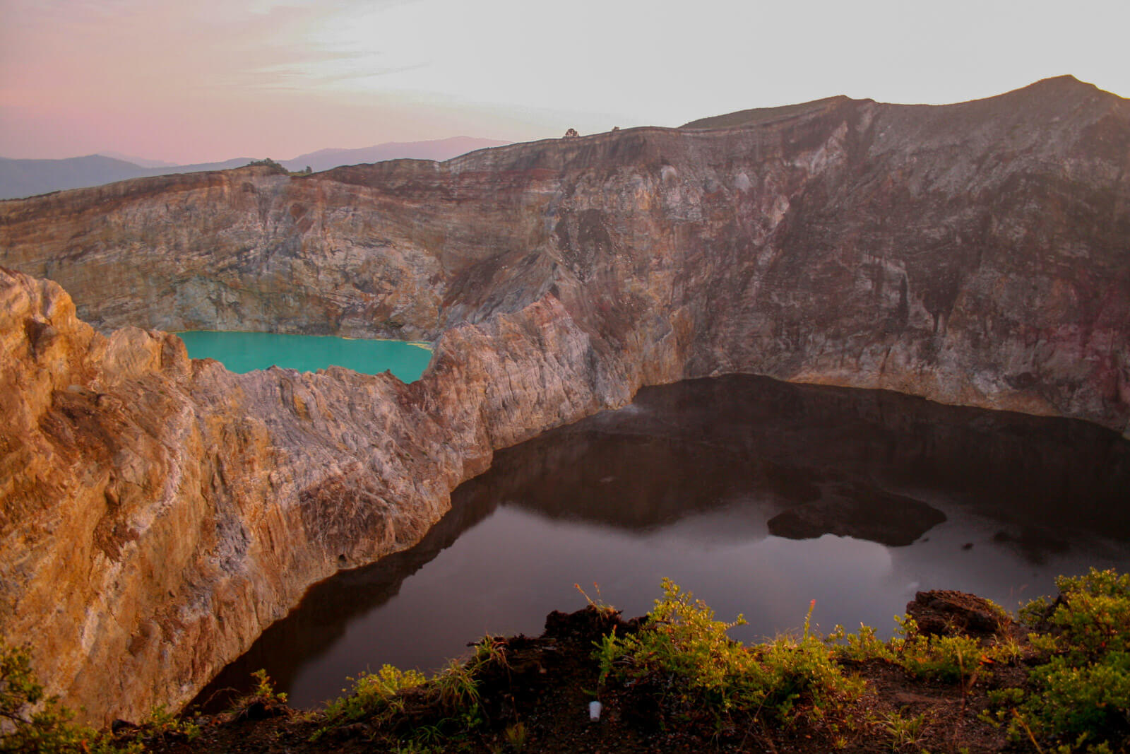 The tri-colored lakes of Kelimutu Volcano, Flores, one of the unique and offbeat destinations in Indonesia
