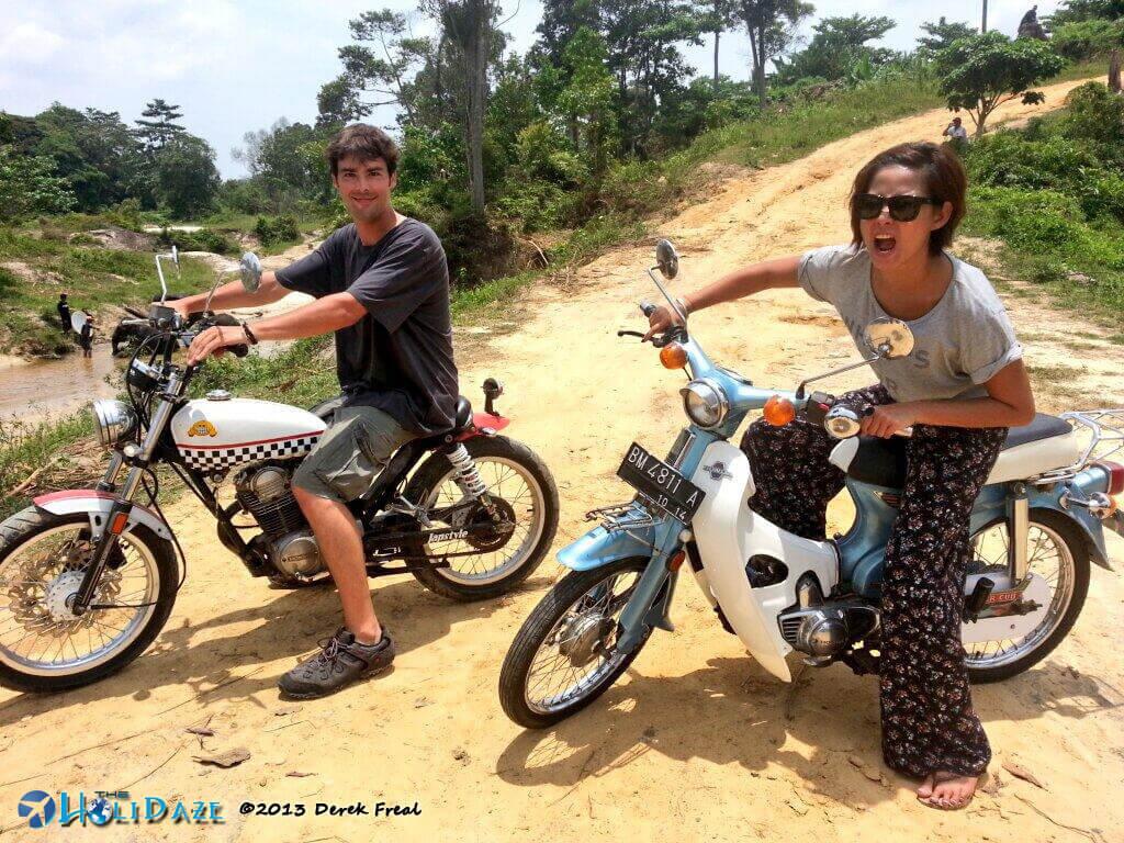 Motorcycling Sumatra with my friend Riyanni Djangkaru