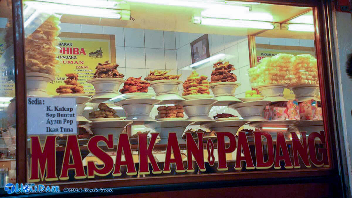 Nasi padang restaurant in Sumatra, Indonesia