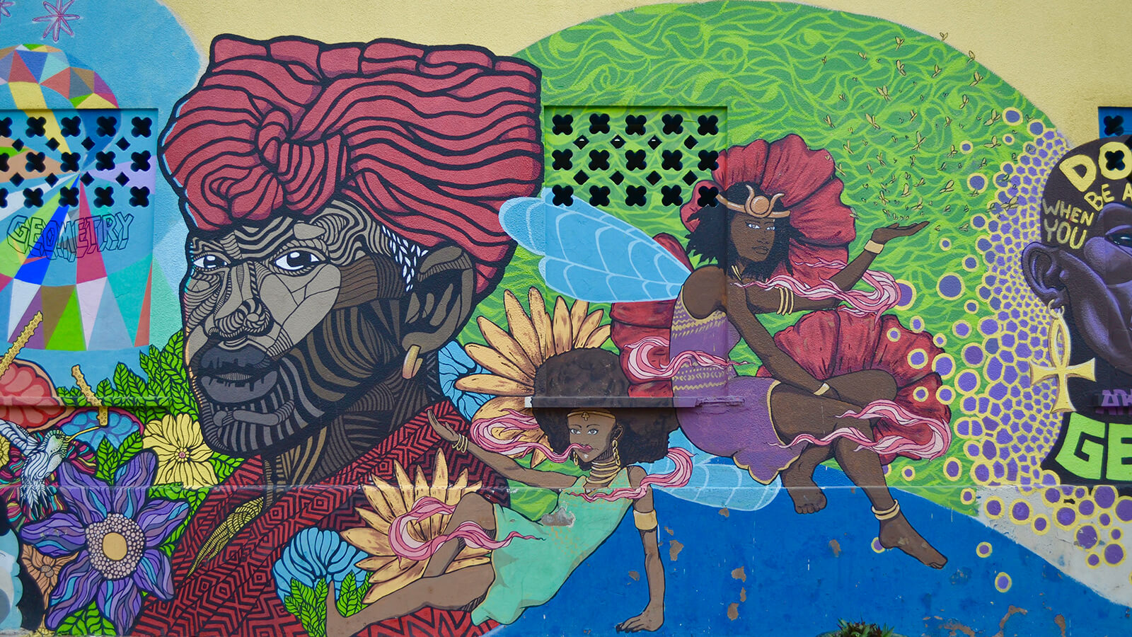 Colorful street art covers Fleet Street in Kingston, Jamaica