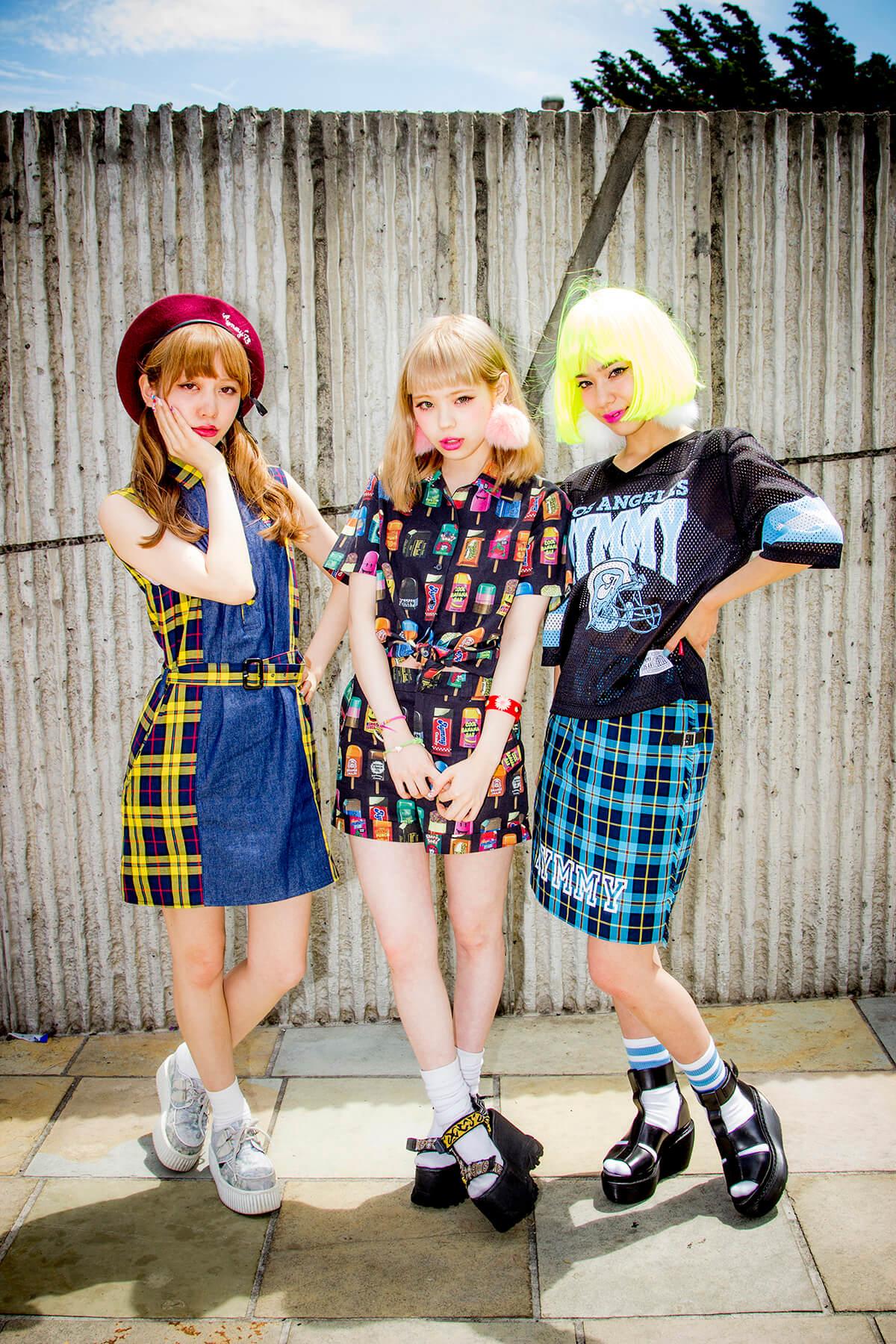 Harajuku fashion models Misa Kimura, Ayumi Seto and Una in Tokyo, Japan