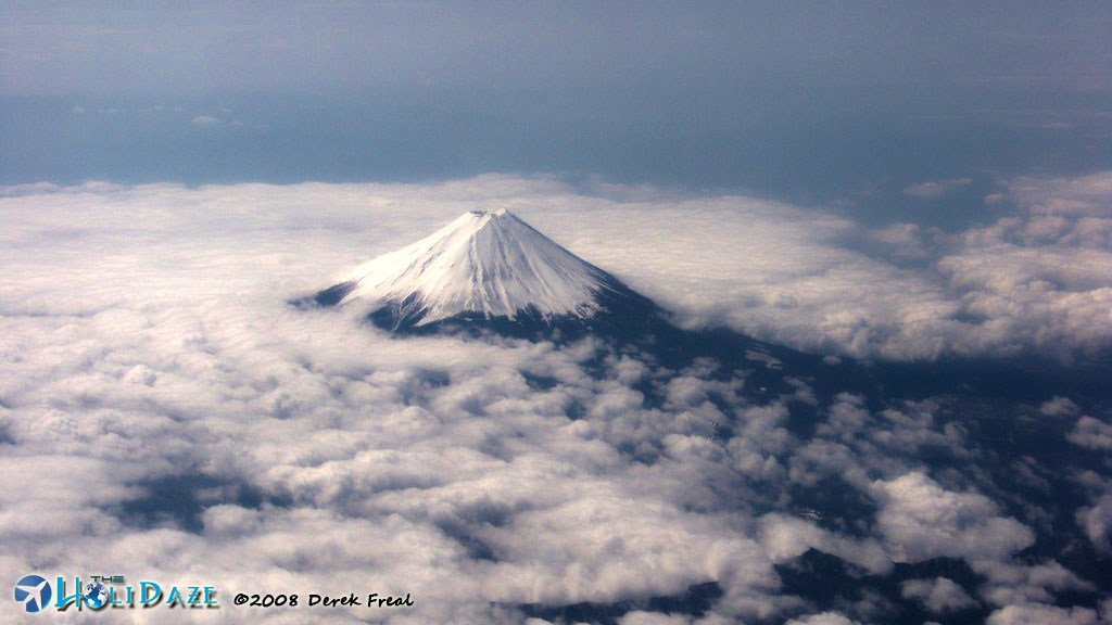 Mount Fuji outside of Tokyo, Japan as seen from the airplane window