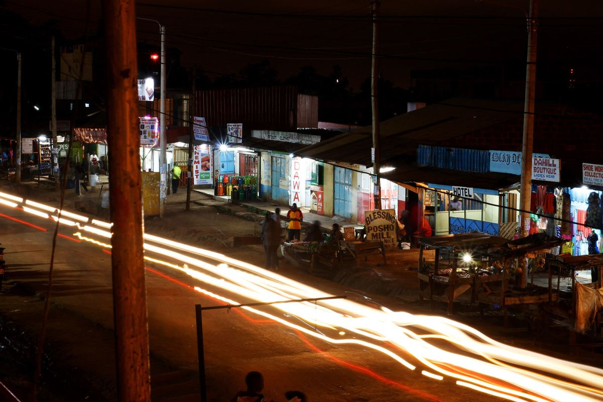 Night in the suburbs of Nairobi, Kenya