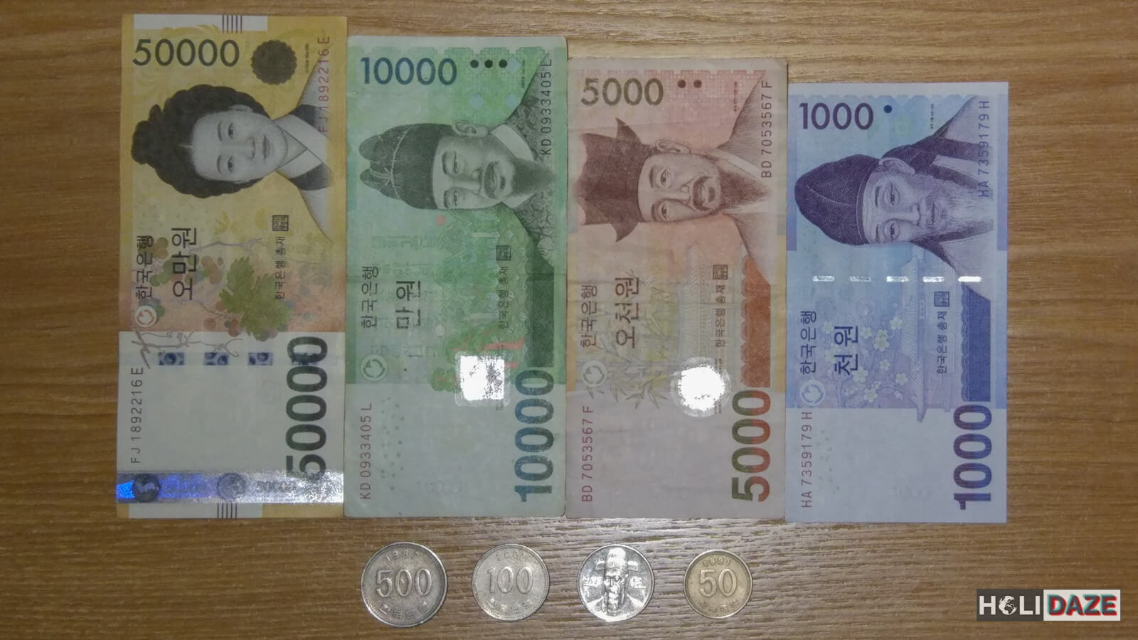 Korean currency is called 'won' and denominations range from 1,000 to 50,000 plus coins for 500 won and less