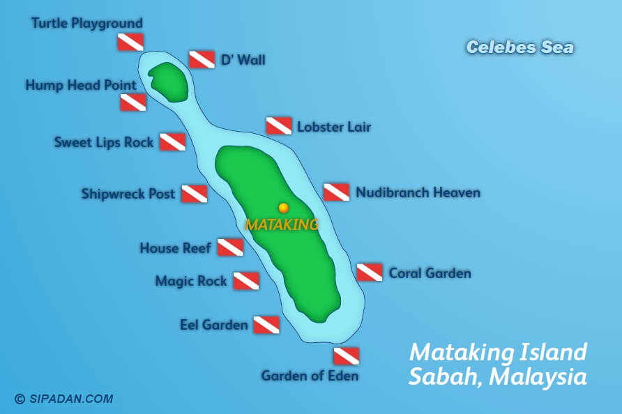 Mataking Island has many different scuba diving locations -- this map shows all the dive spots