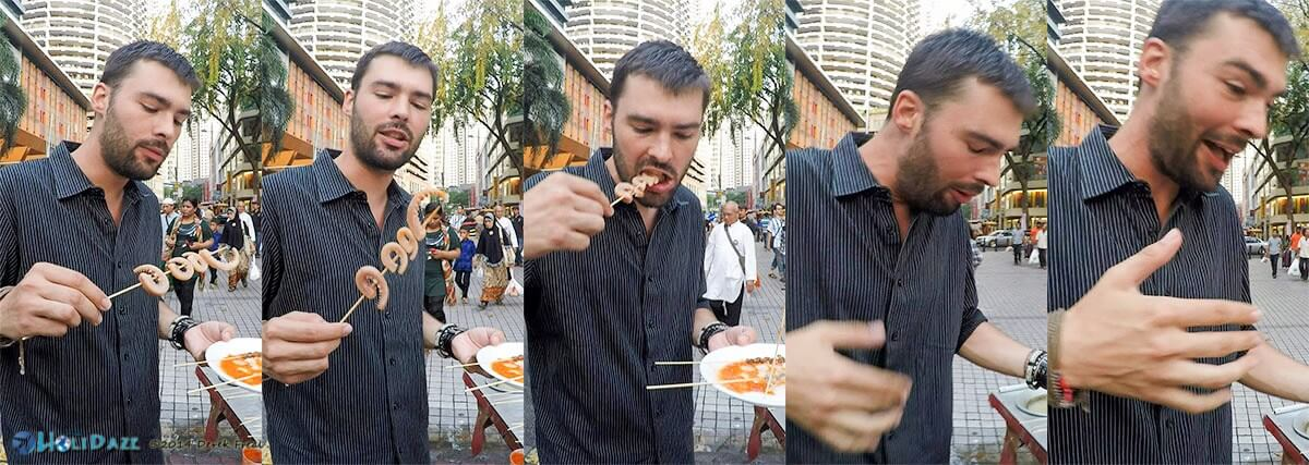 Boiled octopus satay in Malaysia