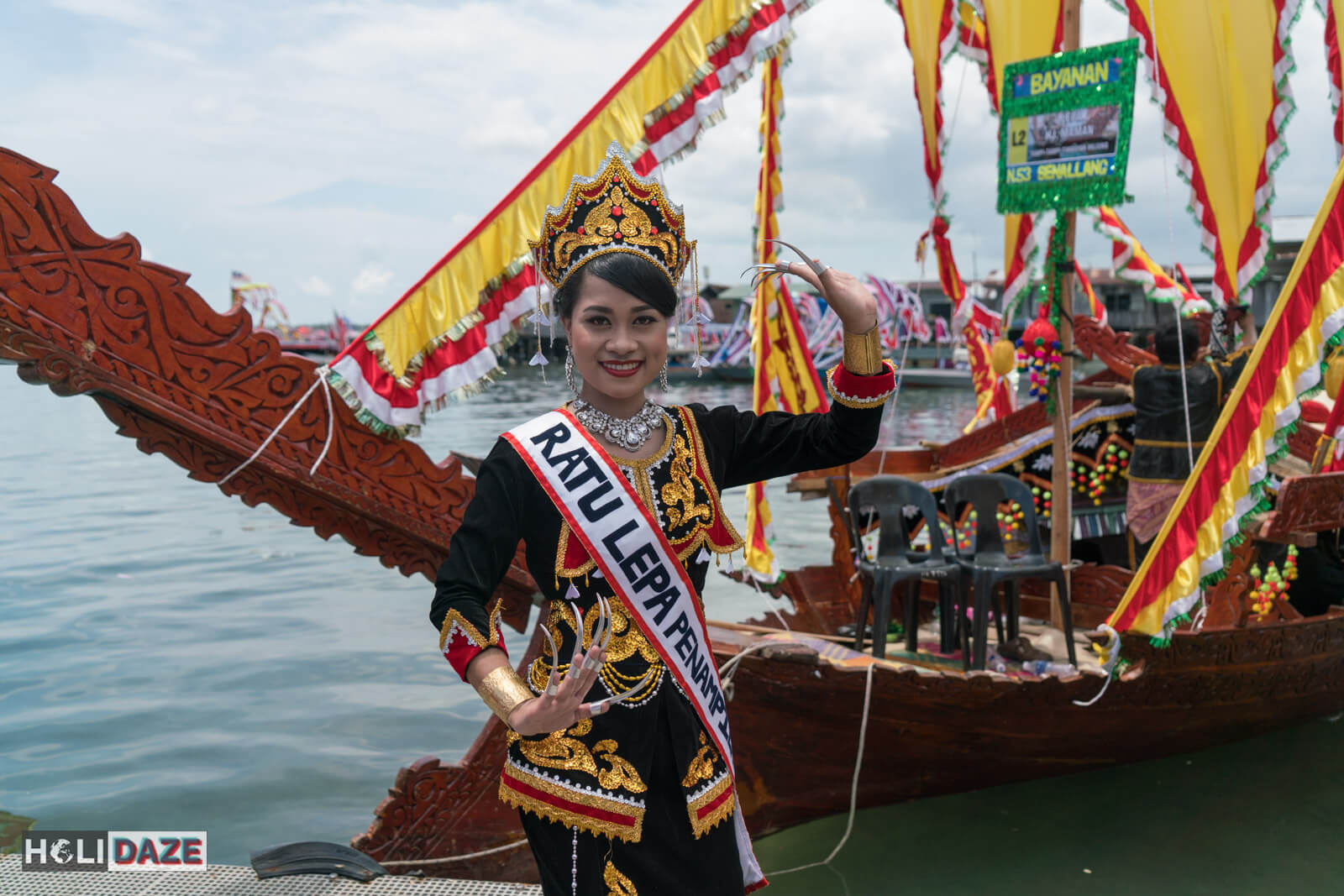 Bajau girl performing traditional dance at the Regatta Lepa festival in Semporna, Sabah