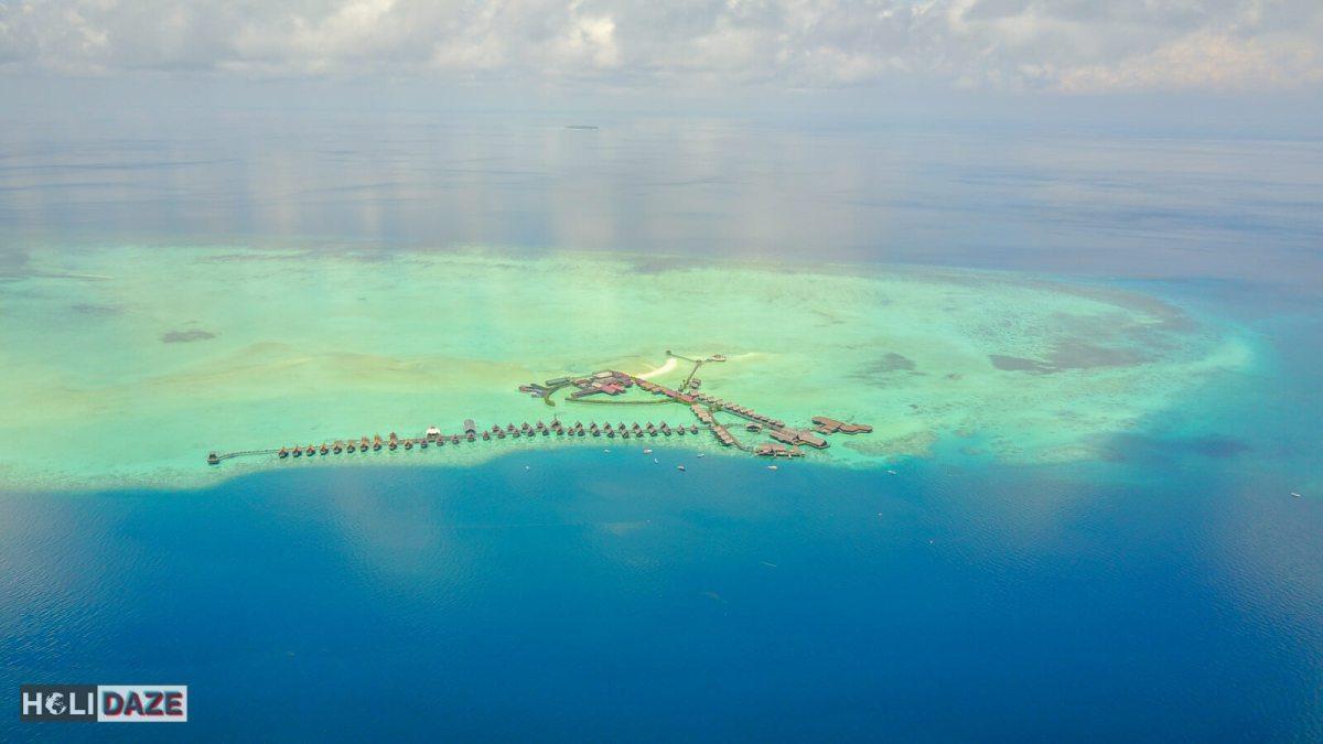 Aerial view of Sipadan-Kapalai Dive Resort off the coast of Semporna, Sabah