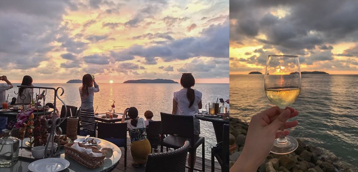 Shangri-la's Sunset Bar is well-known as one of the top places to view the sunset in Kota Kinabalu, Sabah, Borneo, East Malaysia