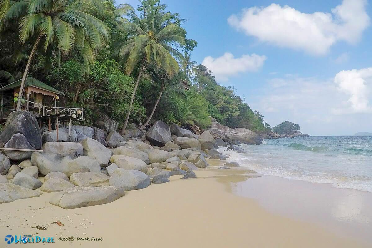 Salang Beach and mountains, Tioman Island, Malaysia