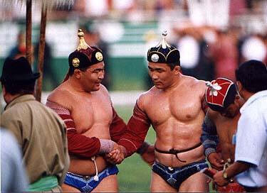 Naadam wrestlers in skimpy outfits