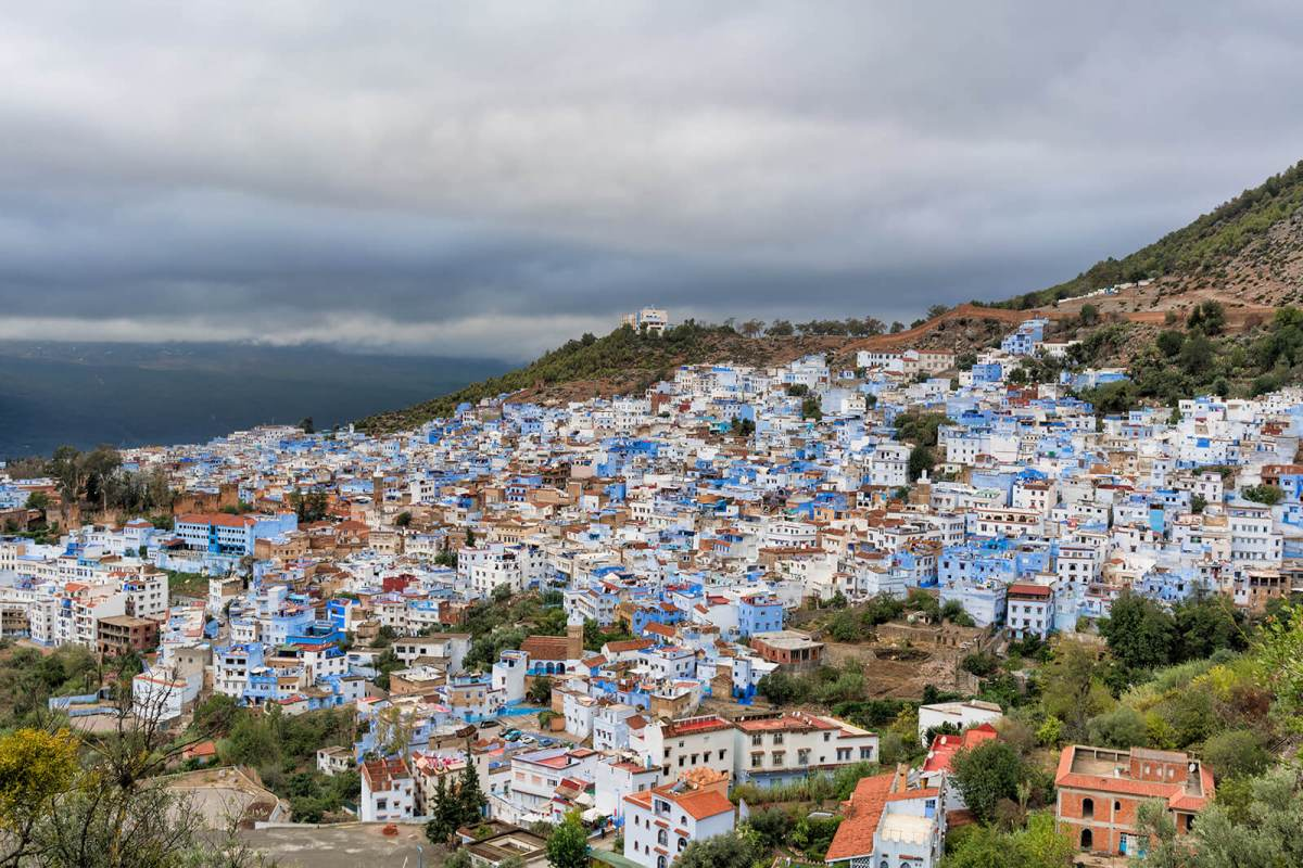 The blue buildings of Bouzaafer, Chefchaouen, Morocco