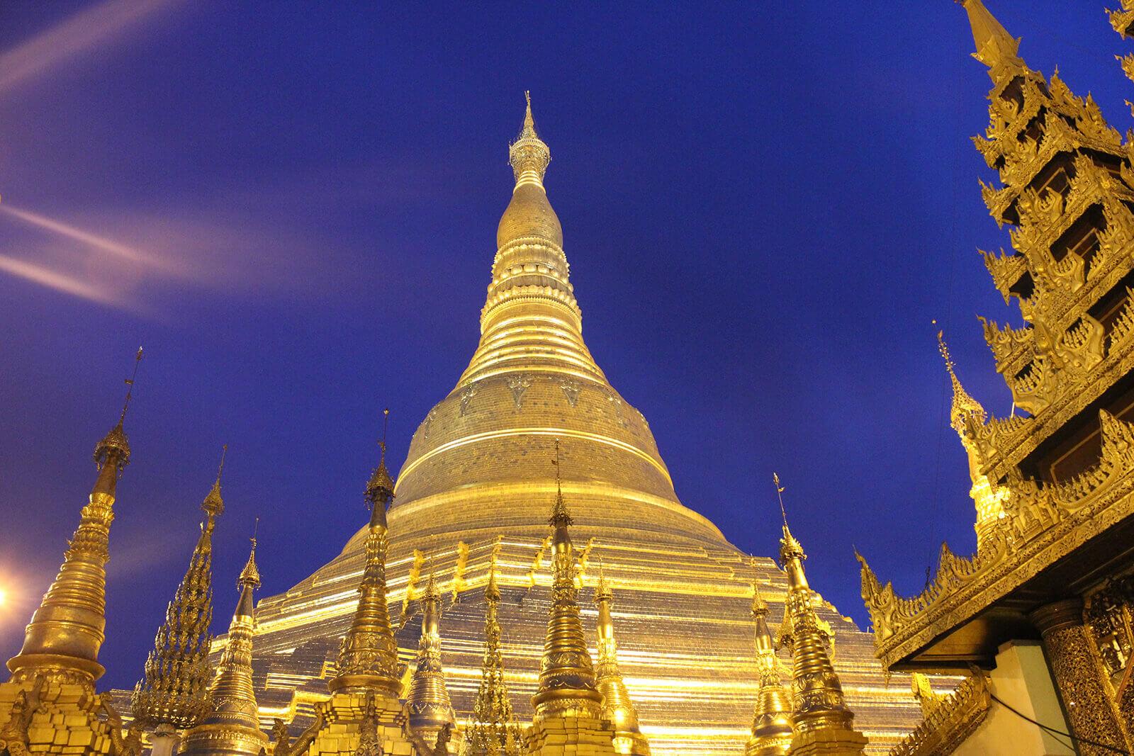 Shwedagon Pagoda in Yangon, Myanmar, also known as the Great Dagon Pagoda and the Golden Pagoda