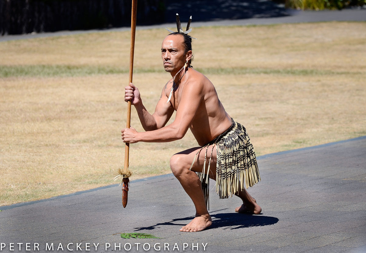 Maori man issuing a challenge at a cultural show at Rotarua, New Zealand