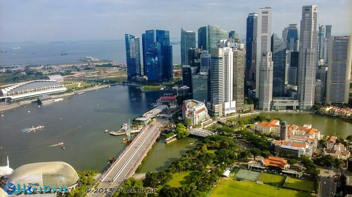 Marina Bay and Downtown Singapore, as seen from the top of Swissotel Singapore
