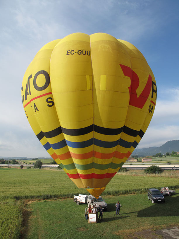 Preparing to go hot air ballooning over Barcelona, Spain