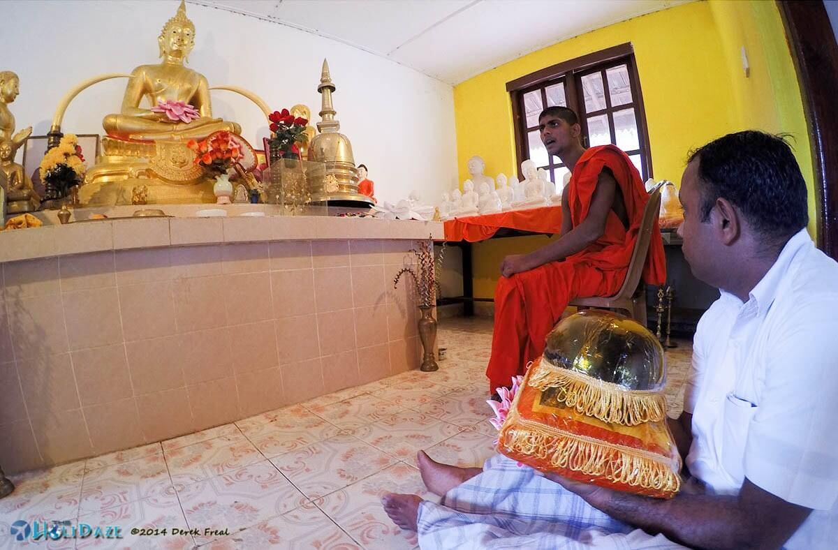 Morning prayers at Girihadu Seya in Trincomalee, Sri Lanka