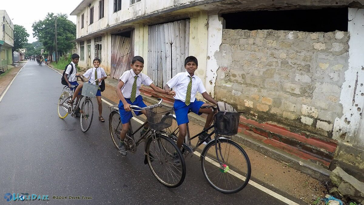 Jaffna schoolkids riding home on bicycles