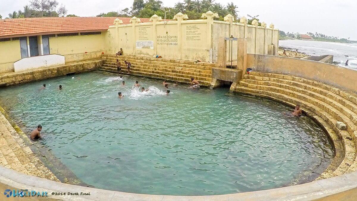 The sacred Keerimalai Pond located just north of Jaffna, Sri Lanka