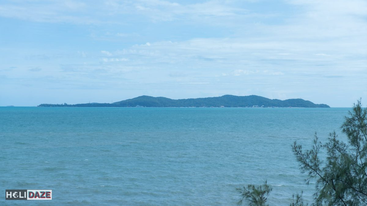 View of Ko Samet from Chao Pho To Kong Shrine in Rayong province, Thailand