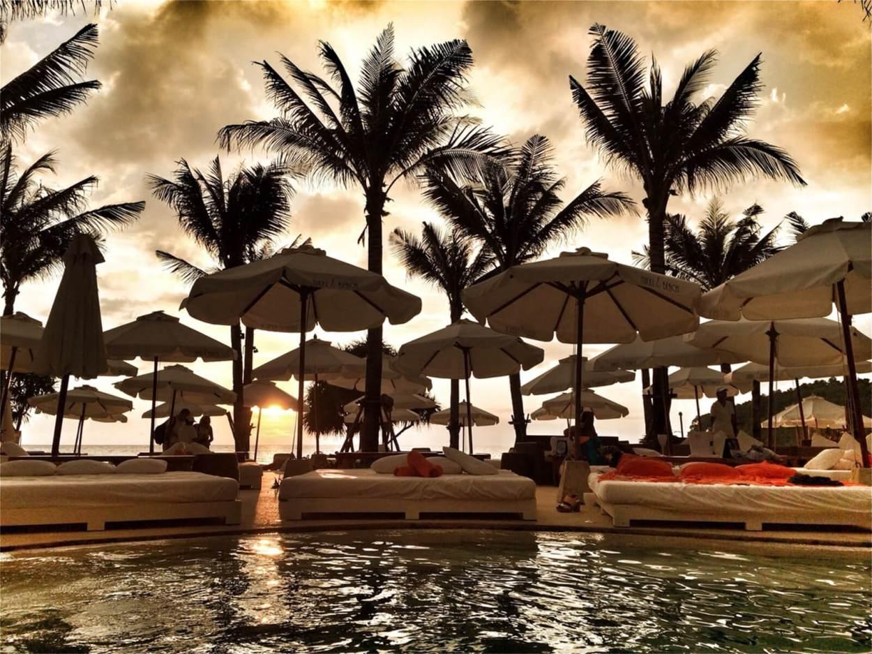 The swimming pool at Nikki Beach Club, Phuket, Thailand