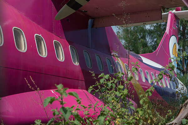 Abandoned Nok Air plane HS-TRB discovered in the woods near Mae Ramphueng Beach, Rayong, Thailand.