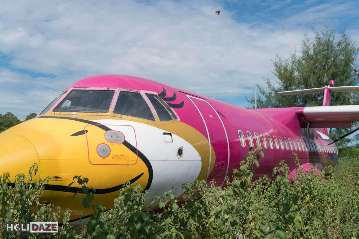 Nok Air plane abandoned in the woods near Mae Rumphueng Beach in Rayong, Thailand.