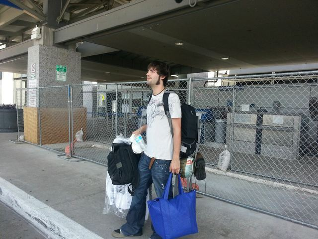 Derek and his luggage at the start of his RTW adventure