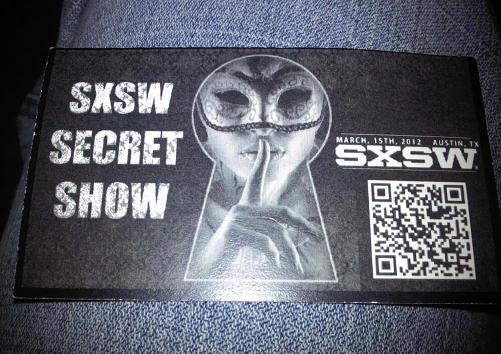Invite to a secret party at SXSW 2012 in Austin, Texas
