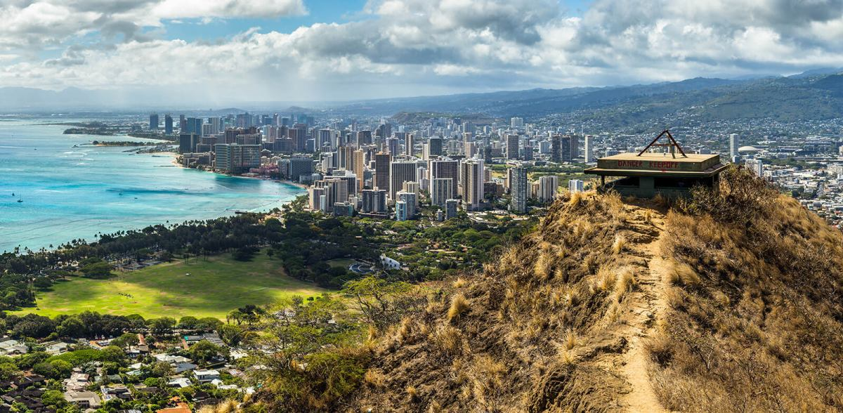 View from the top of Diamond Head Volcano in Hawaii, United States