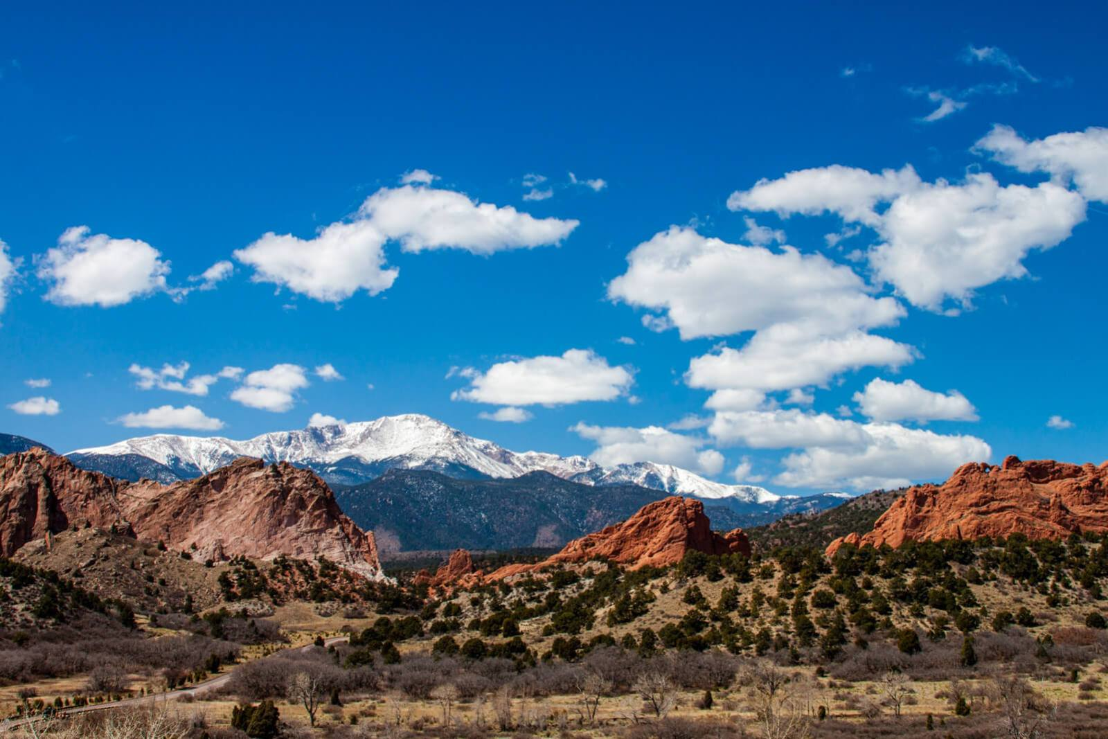 Winter view of Pikes Peak from the Garden Of The Gods Visitors Center in Colorado Springs, Colorado, United States