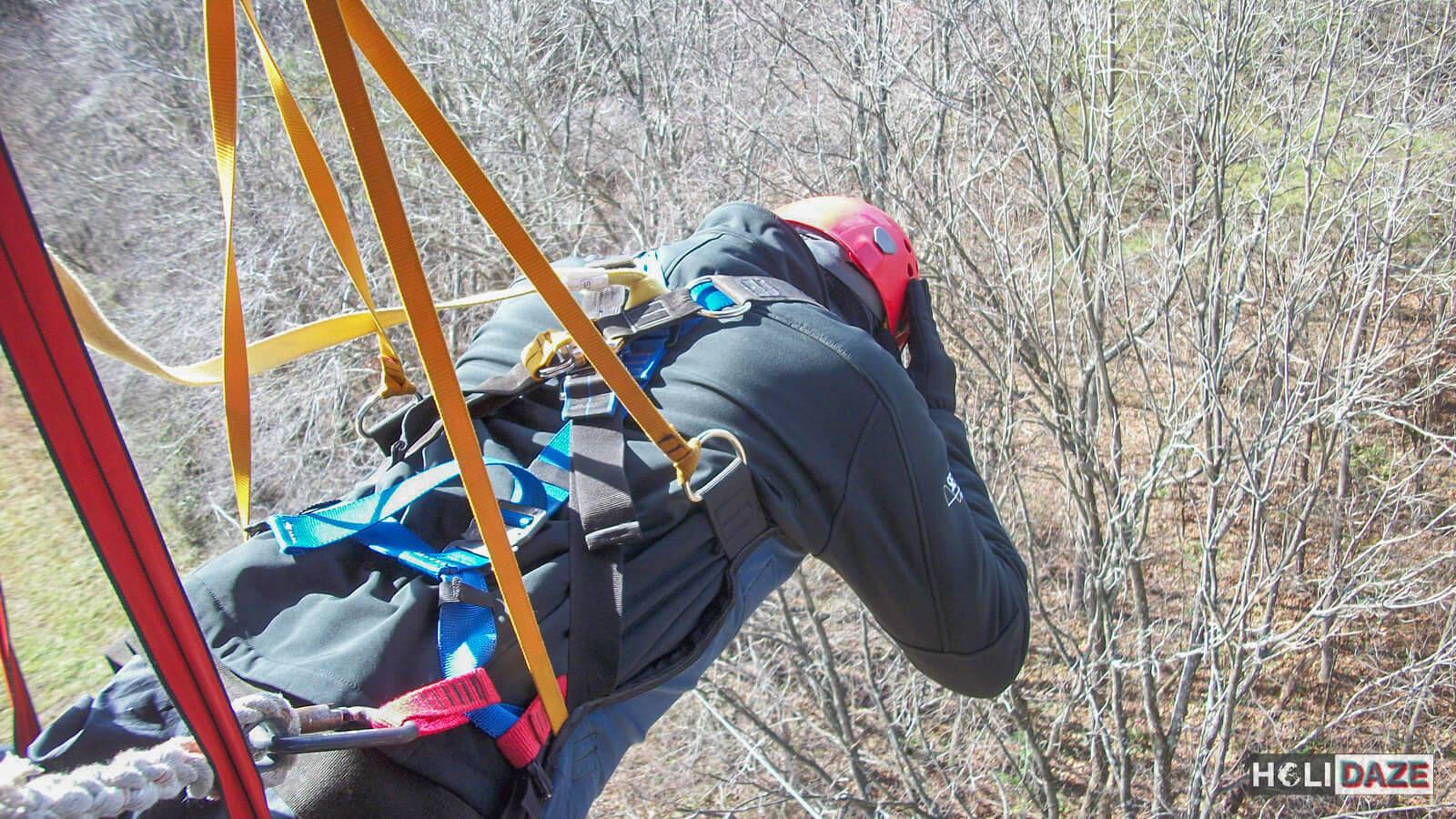 Derek Freal preparing to do the SuperZip in Hocking Hills, Ohio