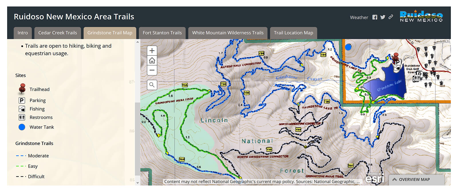Map of the 18 miles of hiking and biking trails around Grindstone Lake in Ruidoso, New Mexico