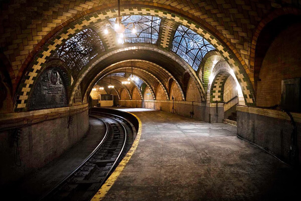Abandoned city hall subway station in New York City, one of the obscure and offbeat NYC sights