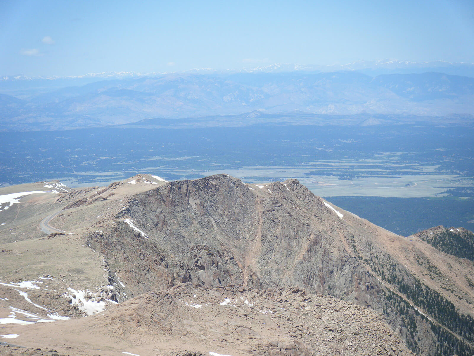View from the summit of PPikes Peak in Colorado, over 14,000 feet above sea level