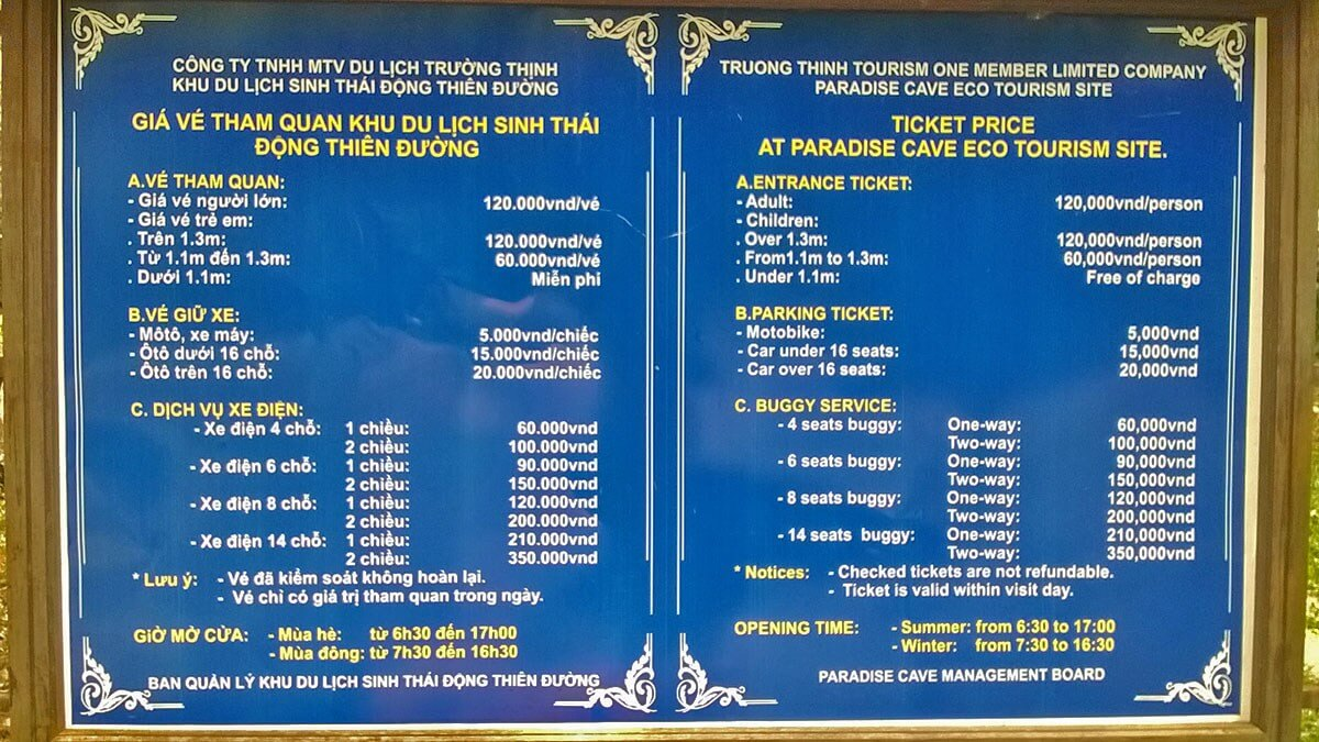 Sign displaying ticket prices for Paradise Cave