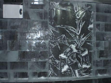Ice artwork at Ice Bar Tokyo in Japan