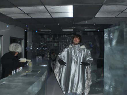 Derek Freal at Ice Bar Tokyo in Japan