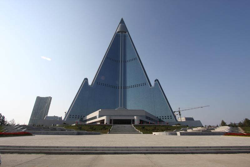 The infamous Ryugyong Hotel in Pyongyang, North Korea