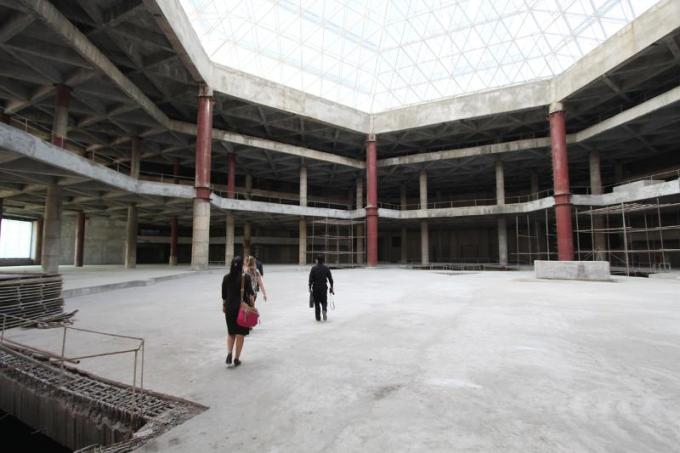 Inside of the incomplete Ryugyong Hotel in Pyongyang, North Korea