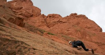 Rock climbing at Garden Of The Gods in Colorado Springs, USA