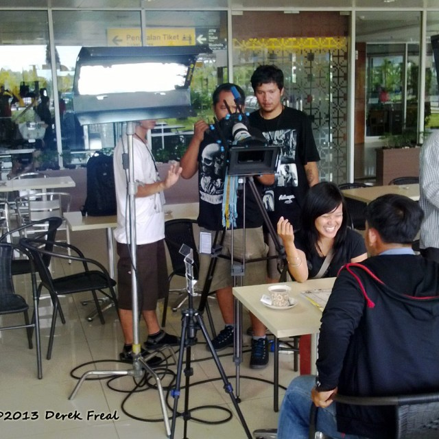 Filming at Sultan Syarif Kasim II International Airport in Pekanbaru, Sumatra, Indonesia