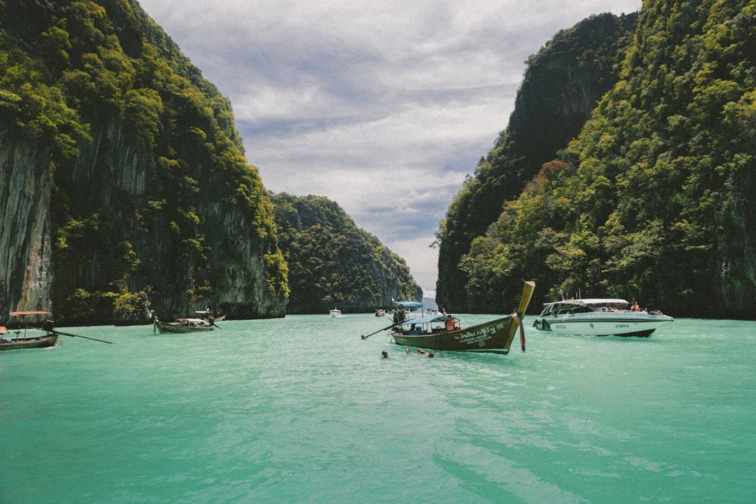 Longtail boats at the Phi Phi Islands in southern Thailand